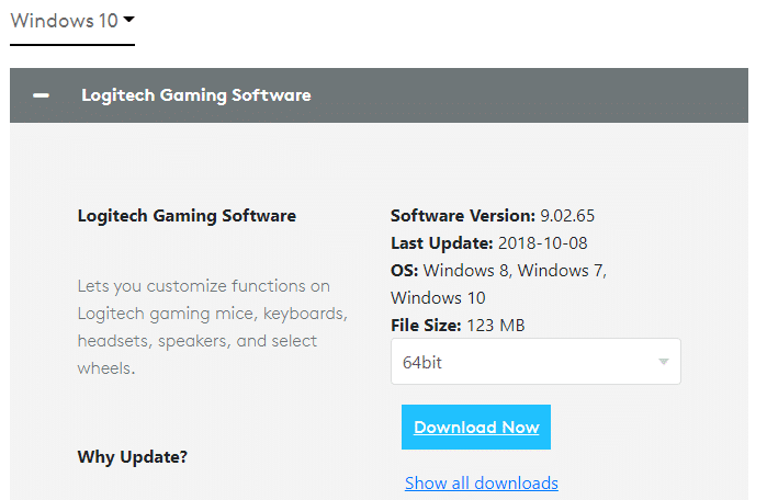 Click on the link attached here to install Logitech gaming software on your system.