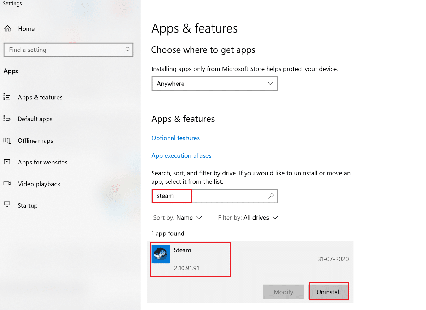 click on uninstall to remove app from windows. How to Fix Hulu Token Error 5
