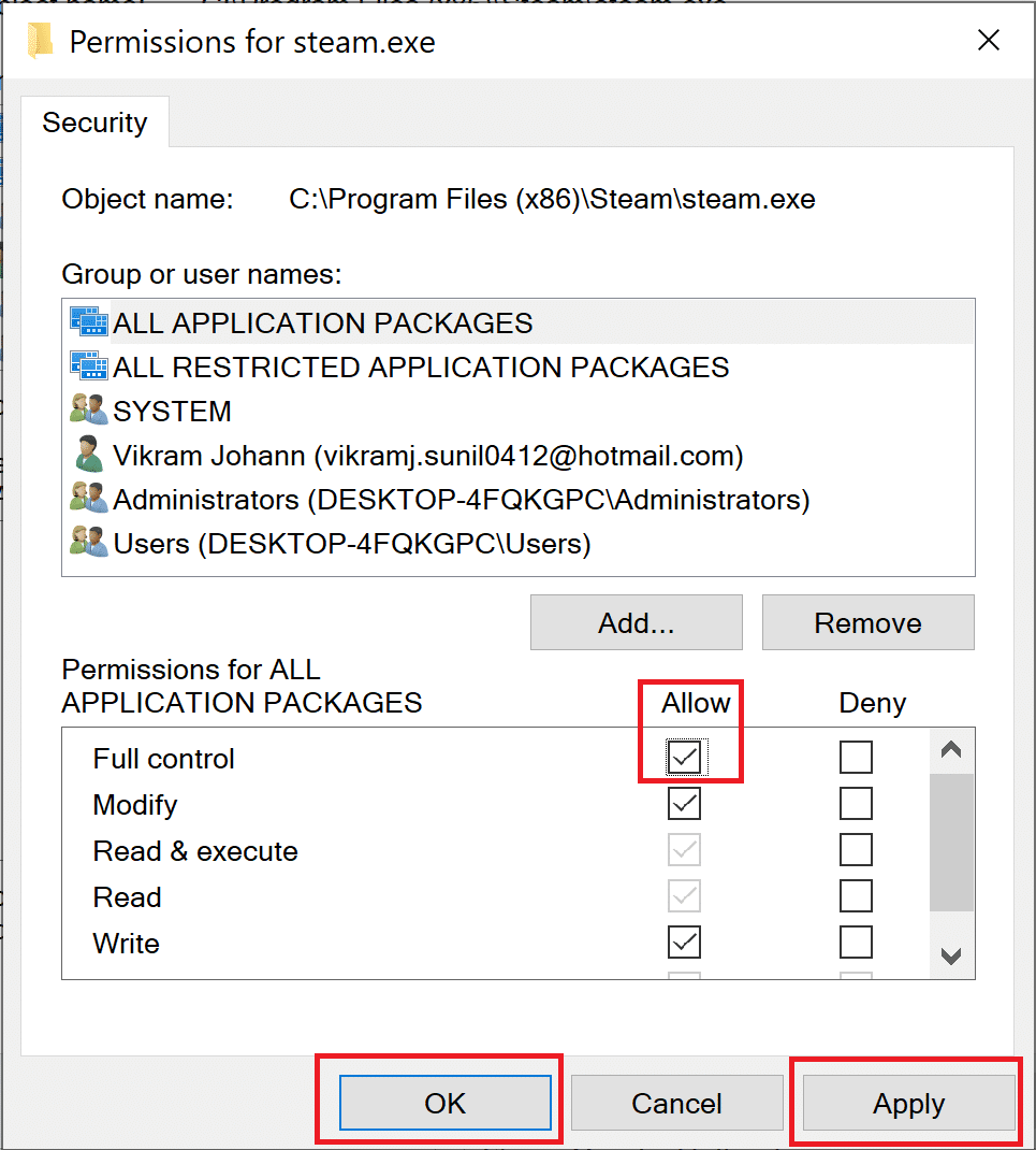 Ensure that Full control is enabled for all users   Fix Destiny 2 Error Code Broccoli