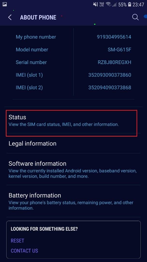 Lenovo Finally tap on Status.