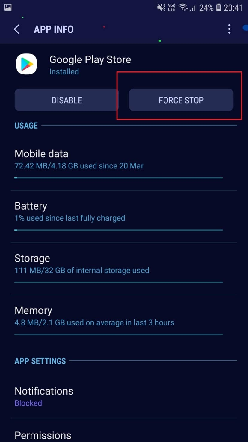 FORCE STOP. How to Fix Play Store DF-DFERH-01 Error