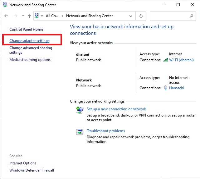 Here, click on Change adapter settings