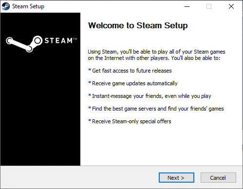 Click on Next in Steam Setup window