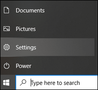 Hit the Windows icon and select the Settings option