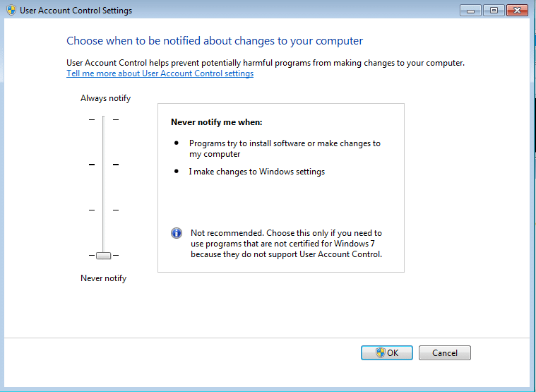 Never notify me when: how to disable UAC