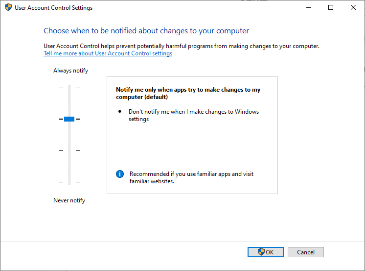 UAC Notify me only when apps try to make changes to my computer (default) how to disable User Account Control in Windows 7,8,10