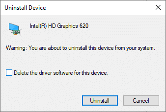 """Now, a warning prompt will be displayed on the screen. Check the box """"Delete the driver software for this device"""" and confirm the prompt by clicking on Uninstall."""