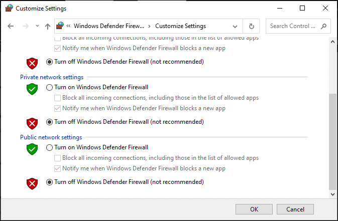 Now, check the boxes; turn off Windows Defender Firewall (not recommended) for all types of network settings