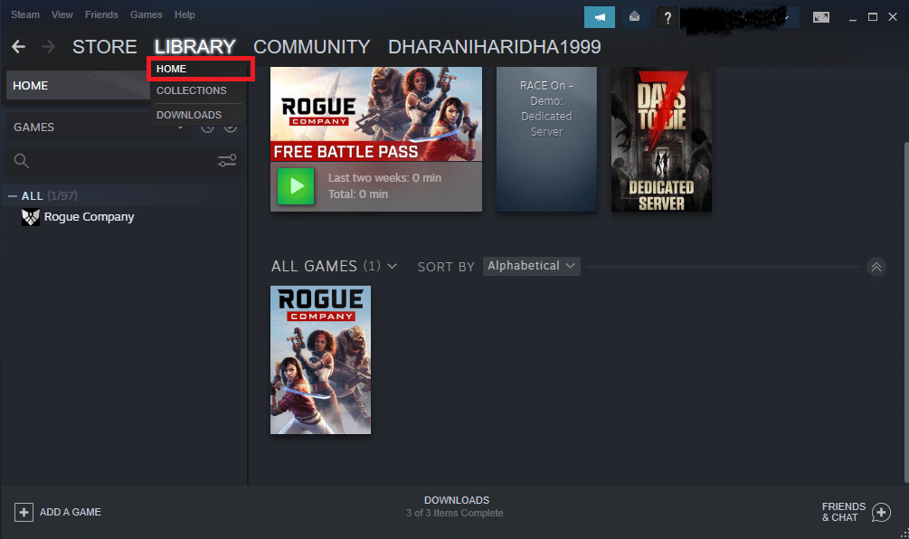 Now, click on HOME and search for the game where you cannot hear audio content in the library.