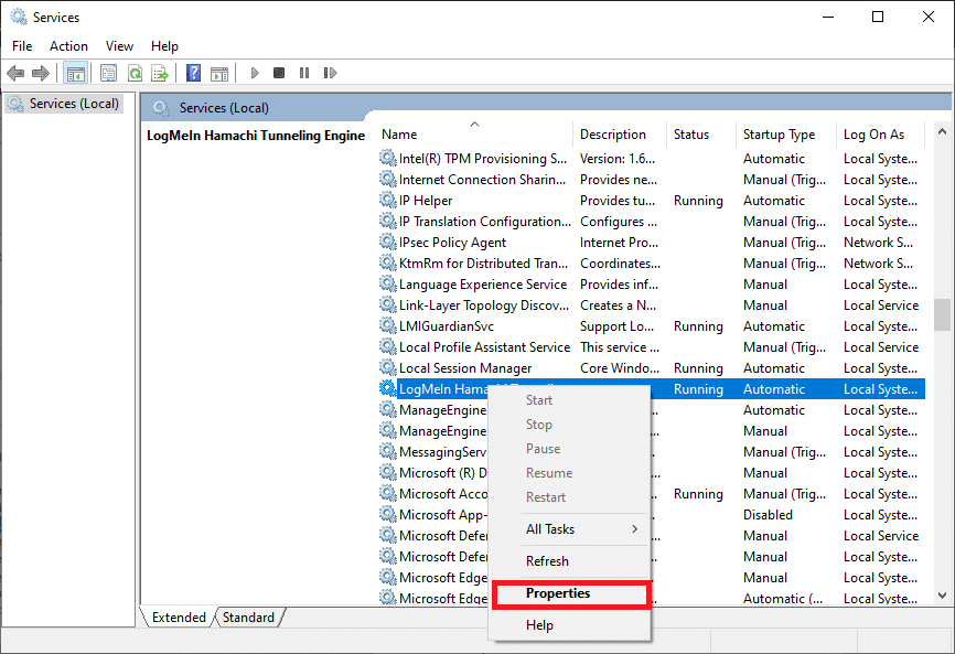 Now, click on LogMeIn Hamachi Tunneling Engine Properties How to Fix Hamachi Tunnel Problem on Windows 10