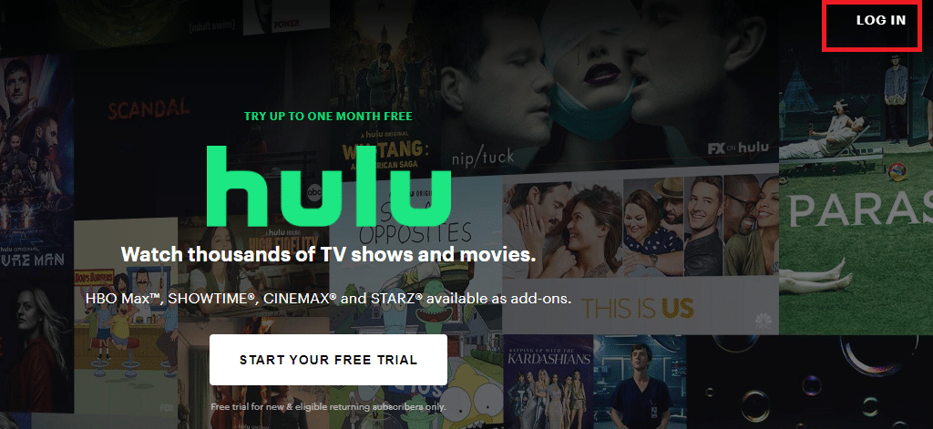 Now, click on the LOG IN option at the top right corner. How to Fix Hulu Token Error Code 3