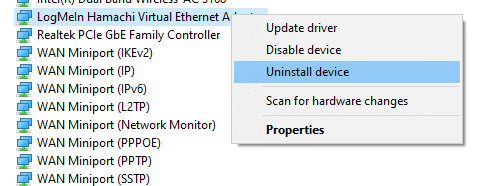 Now, click on Uninstall device . how to fix Hamachi Tunnel Problem Windows 10