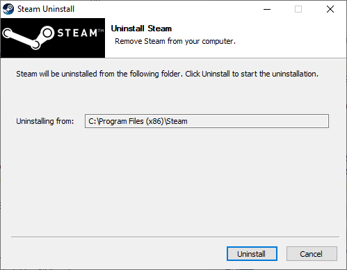 Now, confirm the prompt by clicking on Uninstall. How to Fix Steam Application Load Error 3:0000065432
