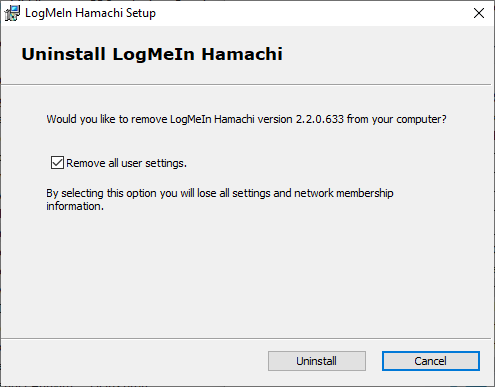 Now, confirm the prompt by clicking on Uninstall   How to Fix Hamachi Tunnel Problem on Windows 10