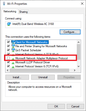 Now, ensure the Microsoft Network Adapter Multiplexor Protocol is unchecked. How to Fix Hamachi Tunnel Problem on Windows 10
