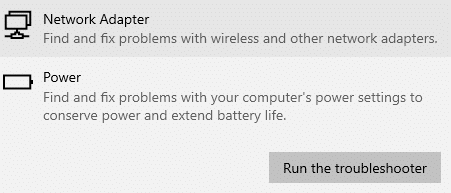 Now, select Run the troubleshooter, and the Power troubleshooter will be launched now. Fix There Are Currently No Power Options Available