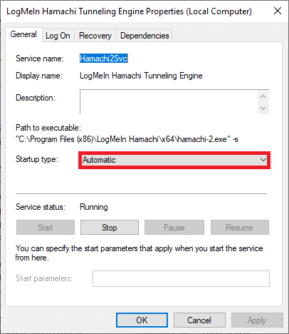Now, set the Startup type to Automatic   How to Fix Hamachi Tunnel Problem on Windows 10