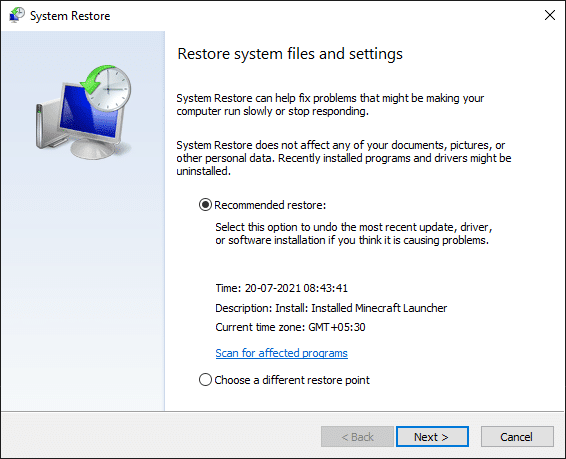 Now, the System Restore window will be popped up on the screen. Here, click on Next