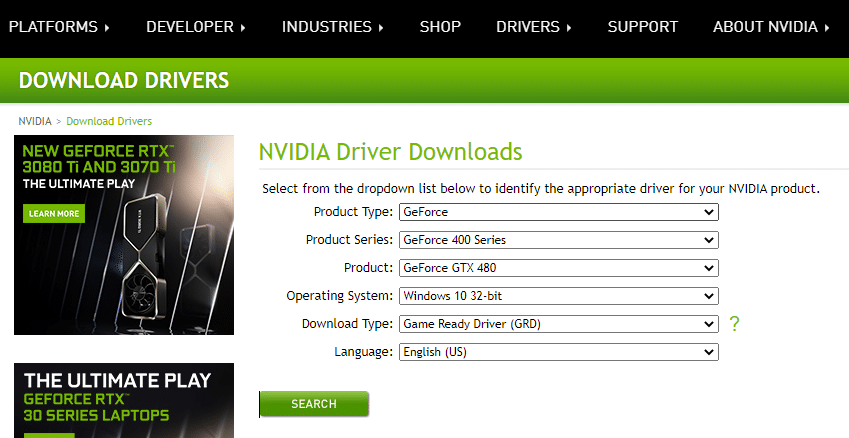 Now, visit the manufacturer's website and download the latest version of the video card driver.