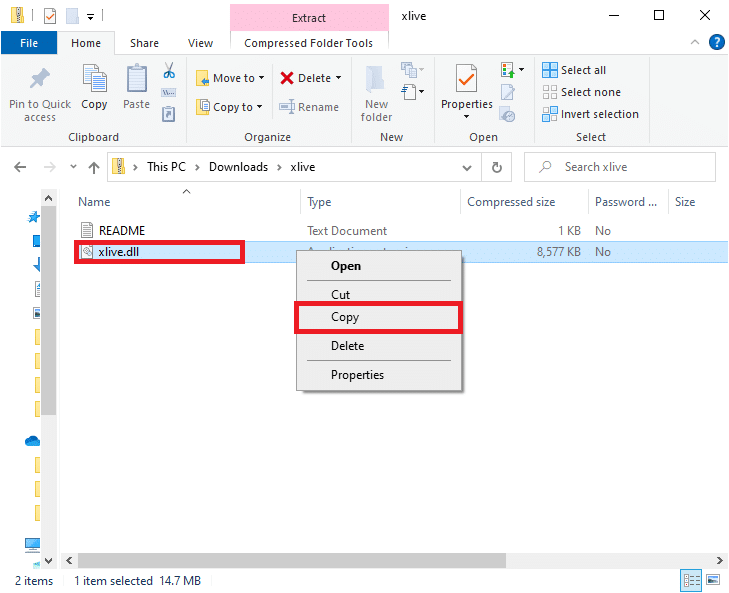 Now, you will see the xlive.dll file as shown in the below picture. Right-click on the file and select the Copy option to copy the file.