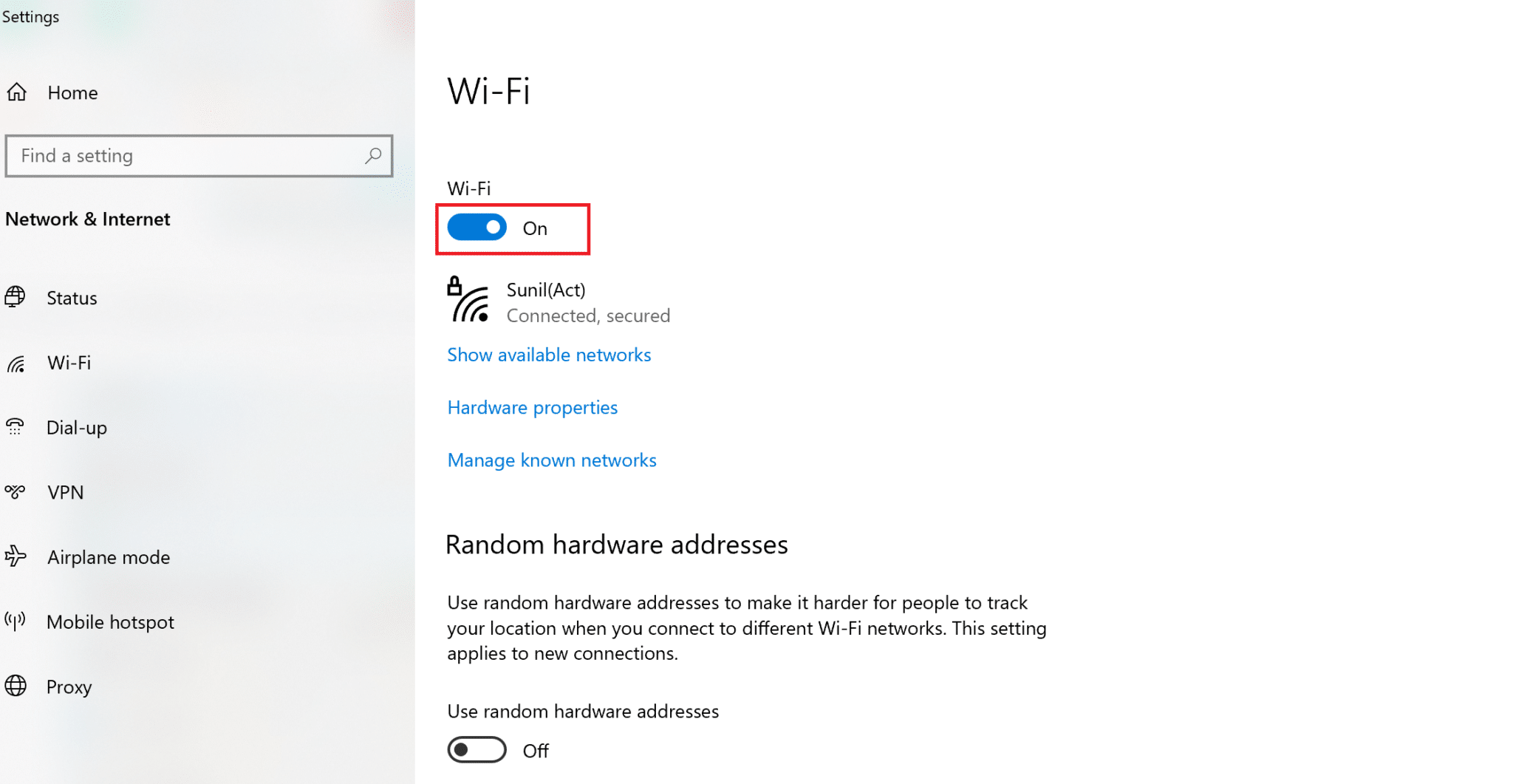 On the right-pane of the settings window, ensure to toggle on under Wi-Fi  Fix Miracast Not Working on Windows 10