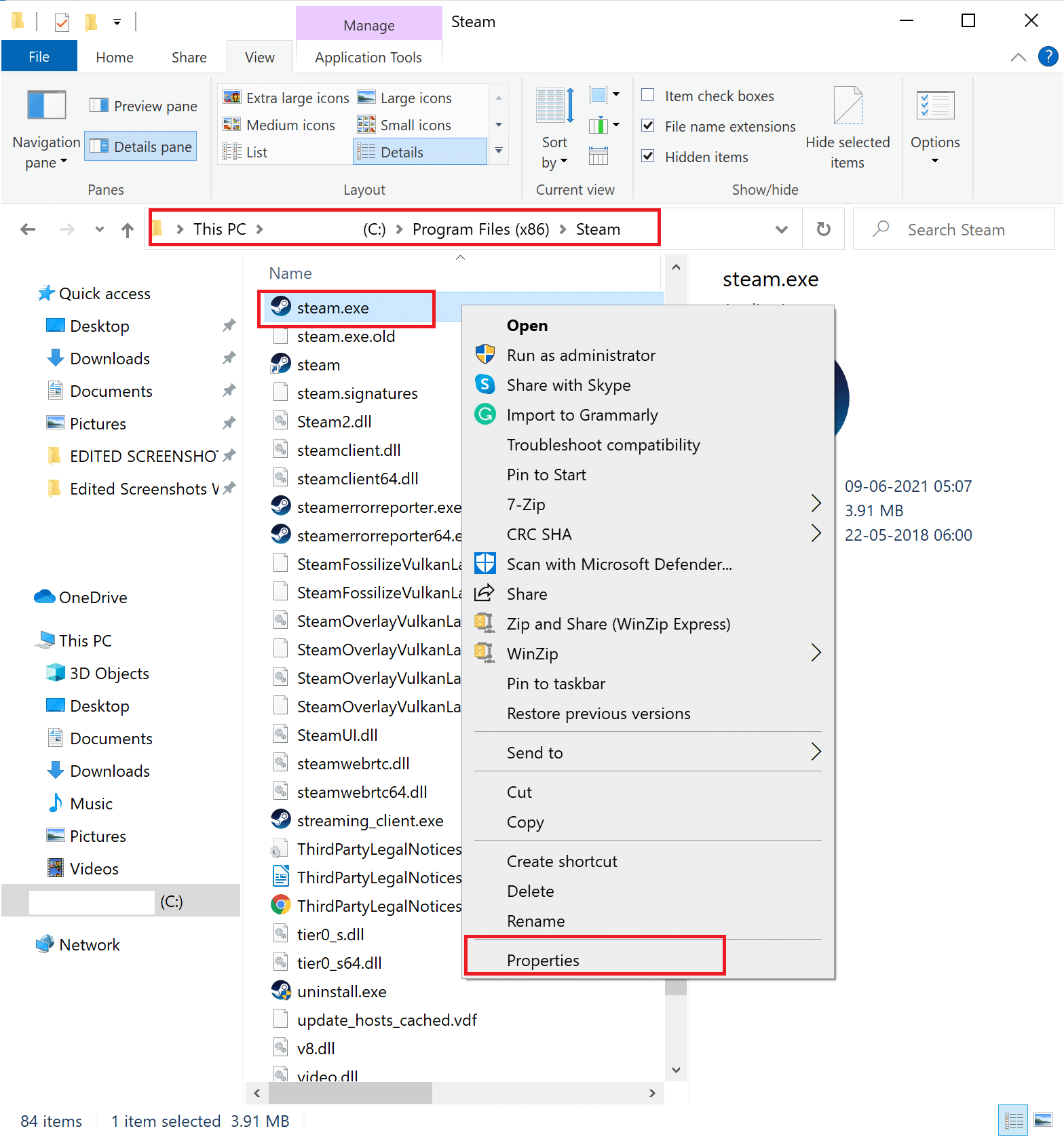 Right-click on the .exe file of the game and select Properties