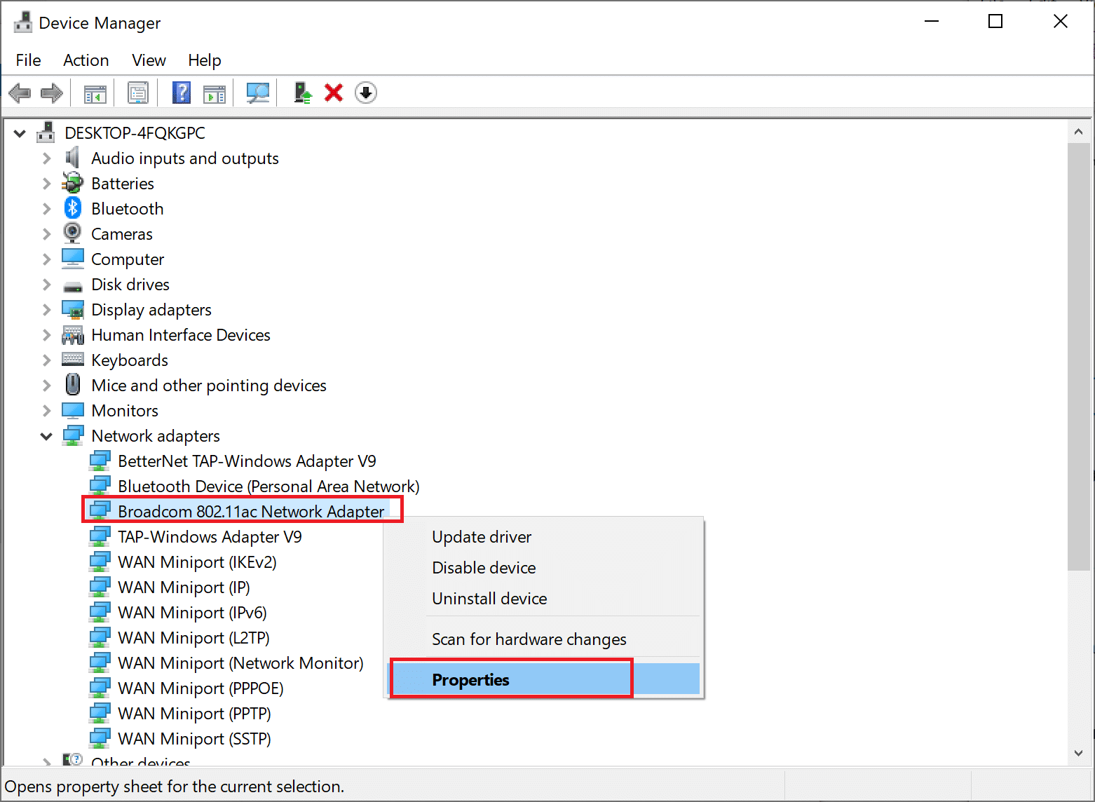 Right-click on the wireless network adapter and select Properties. Your PC doesn't support Miracast