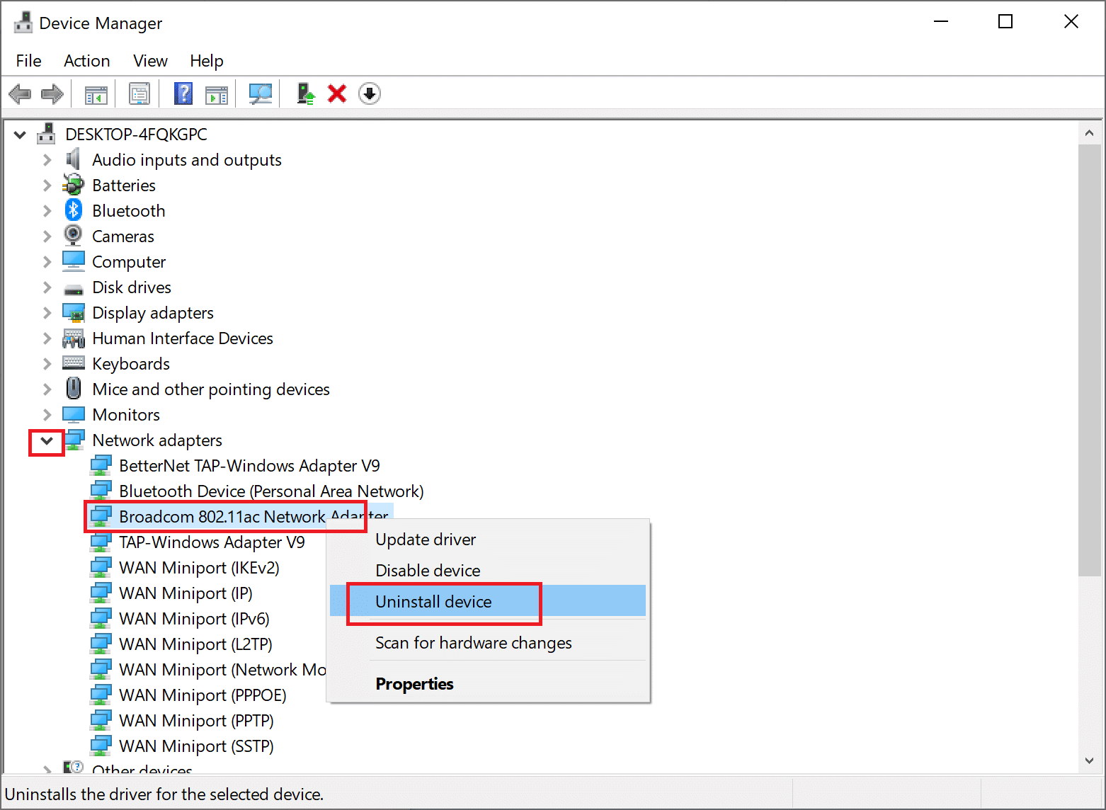 Right-click on the wireless network adapter and then, select Uninstall device. Your PC doesn't support Miracast