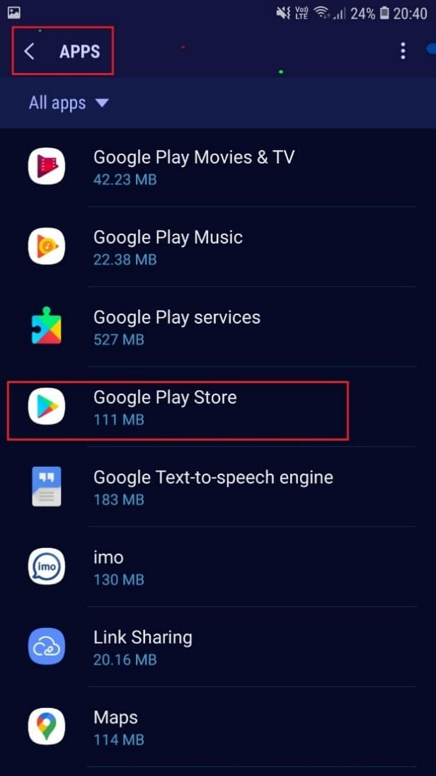 . Select All Apps and find and open Google Play Store