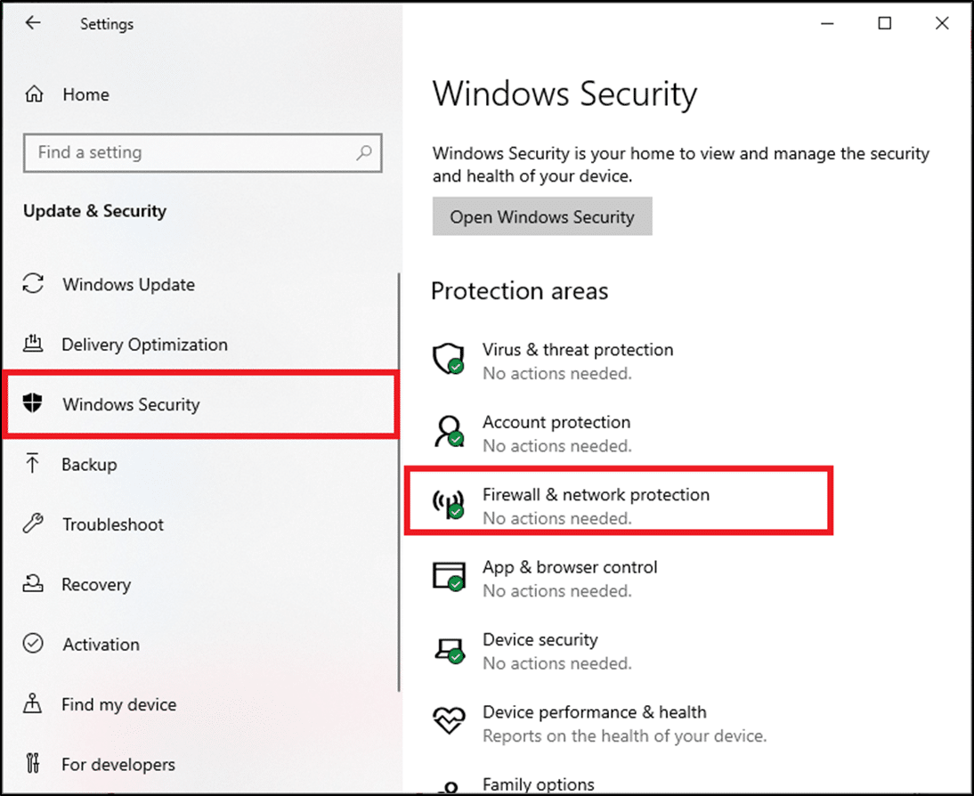 Select the Windows Security option from the left pane and click on Firewall & network protection