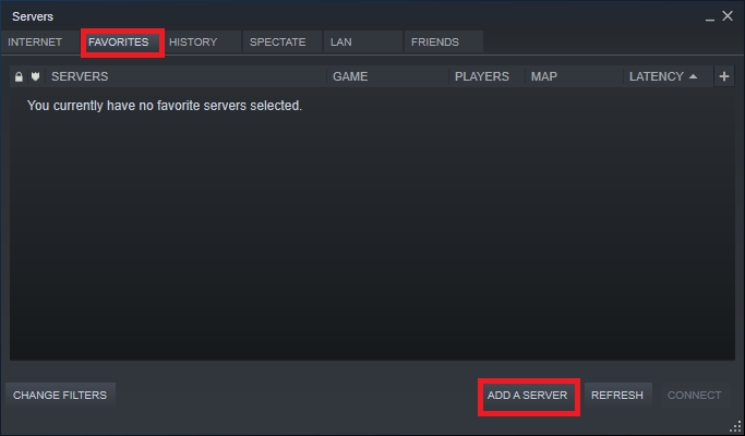 The Servers window will be popped up on the screen as shown in the picture. Redirect to the FAVORITES tab and select the ADD A SERVER option.