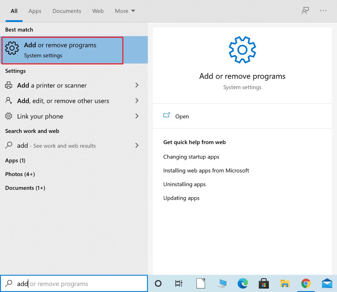 Type Add or remove programs into Windows search  Fix Destiny 2 Error Code Broccoli on Windows 10