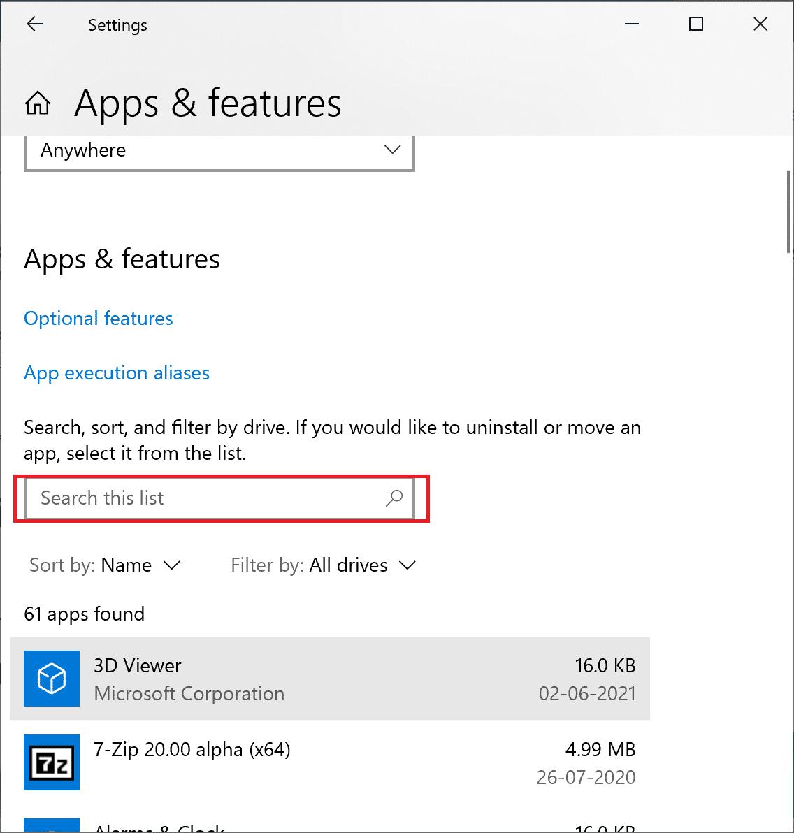 Type Destiny 2 into Search this list text box. How to Fix Destiny 2 Error Code Broccoli on Windows 10