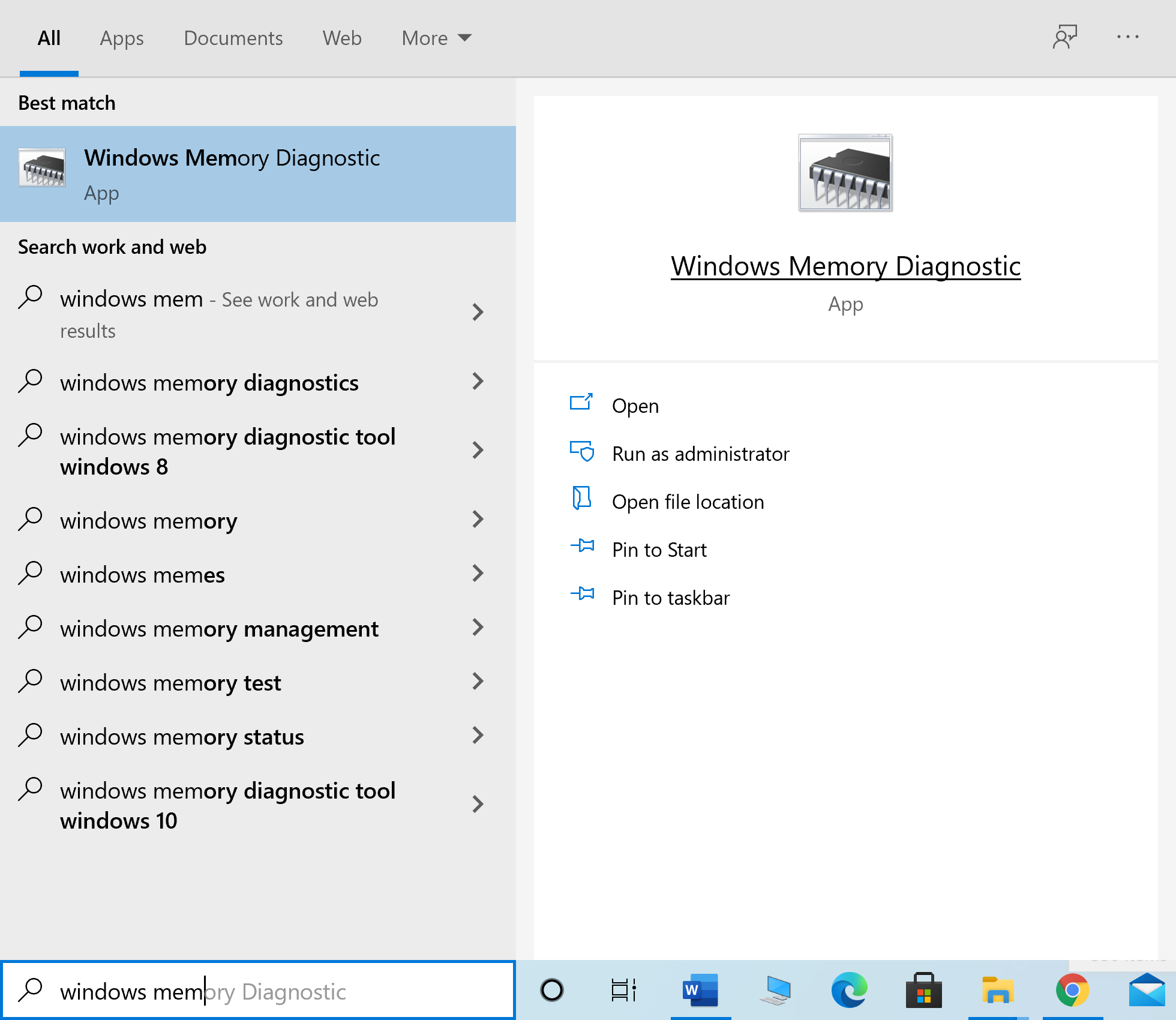 Type Windows Memory Diagnostic into Windows search and launch it from the search result