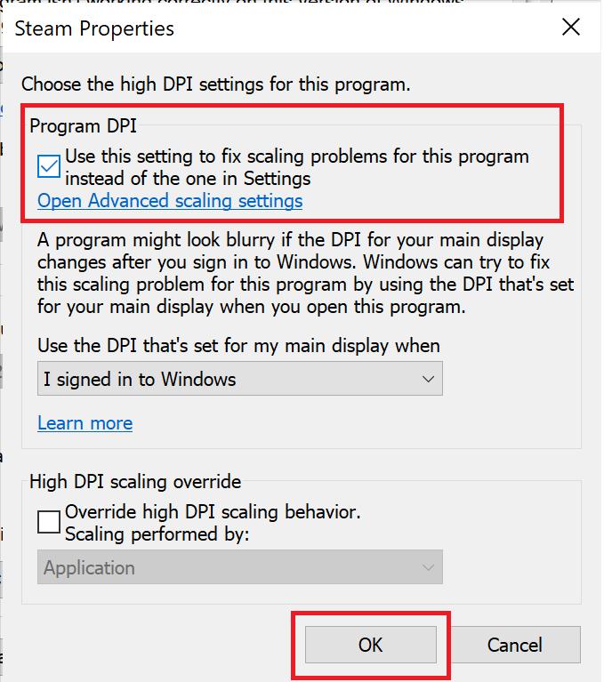 Game properties. Choose Program DPI Settings. How to Fix Destiny 2 Error Code Broccoli on Windows 10